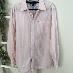 Men's Tommy Hilfiger pink and white striped shirt